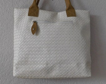 135c75adbb Vintage white faux leather tote bag new without tags square weaving  pattern size L