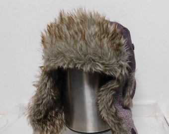 New without tags REI men s winter hat ear flaps faux fur burgundy quilter  lining size L XL 3e6c5b2b77d