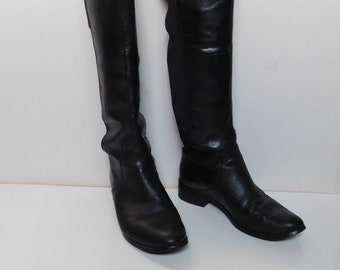 94a6001ad9 Charles David women's high boots over the knee//black leather/back  elastic/size 9M