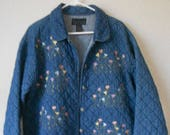 New Direction women 39 s quilted cotton jacket blazer blue flora pattern spring flower pattern size L
