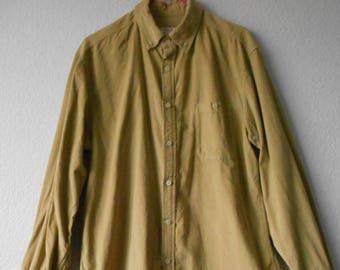Merona men's corduroy long sleeve shirt/cotton corduroy shirt for men/gold soft corduroy/size L/G