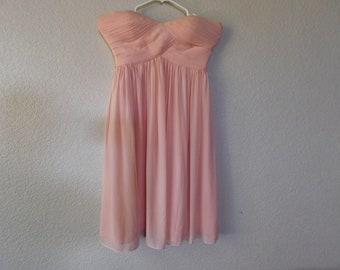 6d67a843b796 Donna Morgan bridesmaid pink silk short dress/empire waist/ruched/bras  attached/size 2