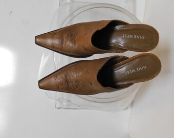 392d28cbfe Nine West cowgirl wedge sandals/pointed toe/leather upper/made in Brazil/size  8.5