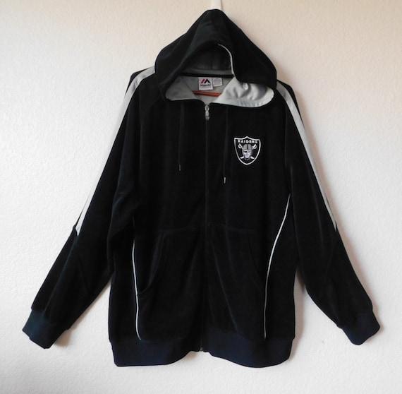 Majestic men's black velvet hooded jacket/Raiders