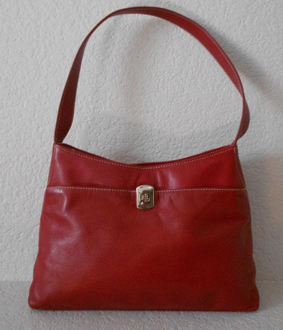 9cefa5ee7c ... greece lauren ralph lauren womens soft red leather shoulder bag etsy  72a16 e1b3b