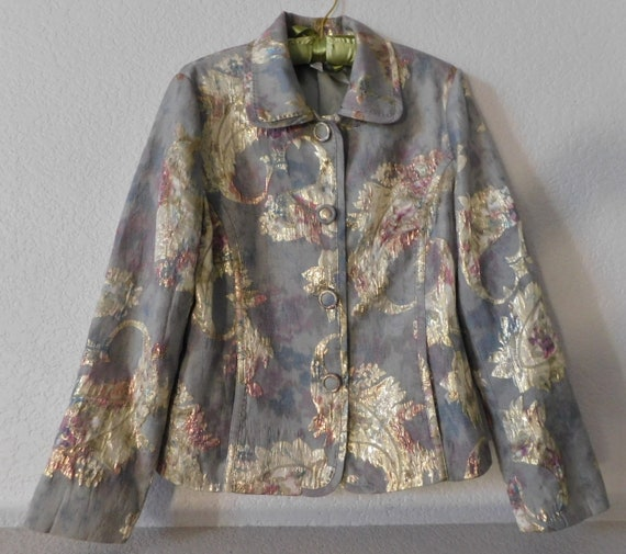 Chico's paisley pattern jacket/gold gray green pai