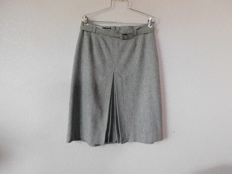 Panter gray skirt two piece wool blend suitpleated open front skirtsize 15-16