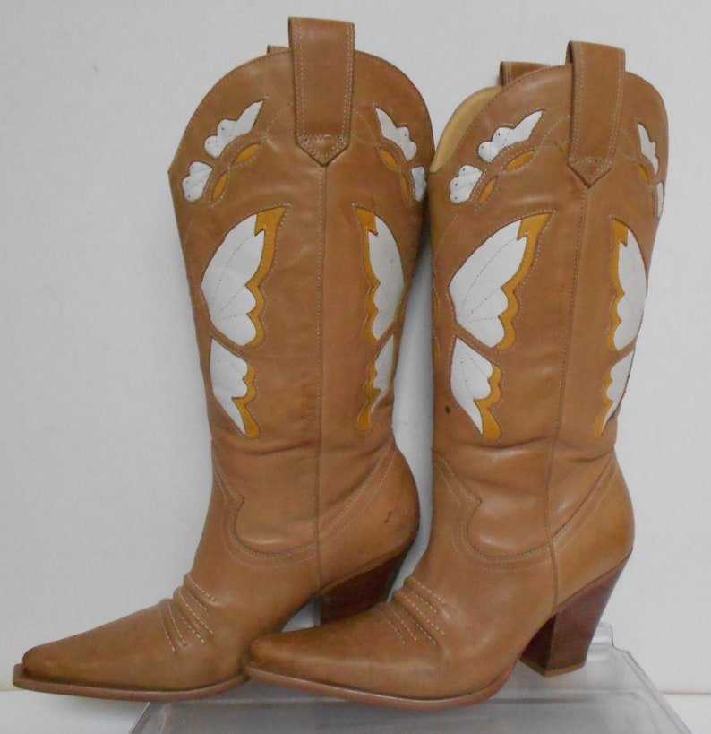 419cd660961 Cathy Jean women's leather western cowgirl boots butterflies embossed tan  yellow white butterflies pointed toe made in Brazil size 7 B