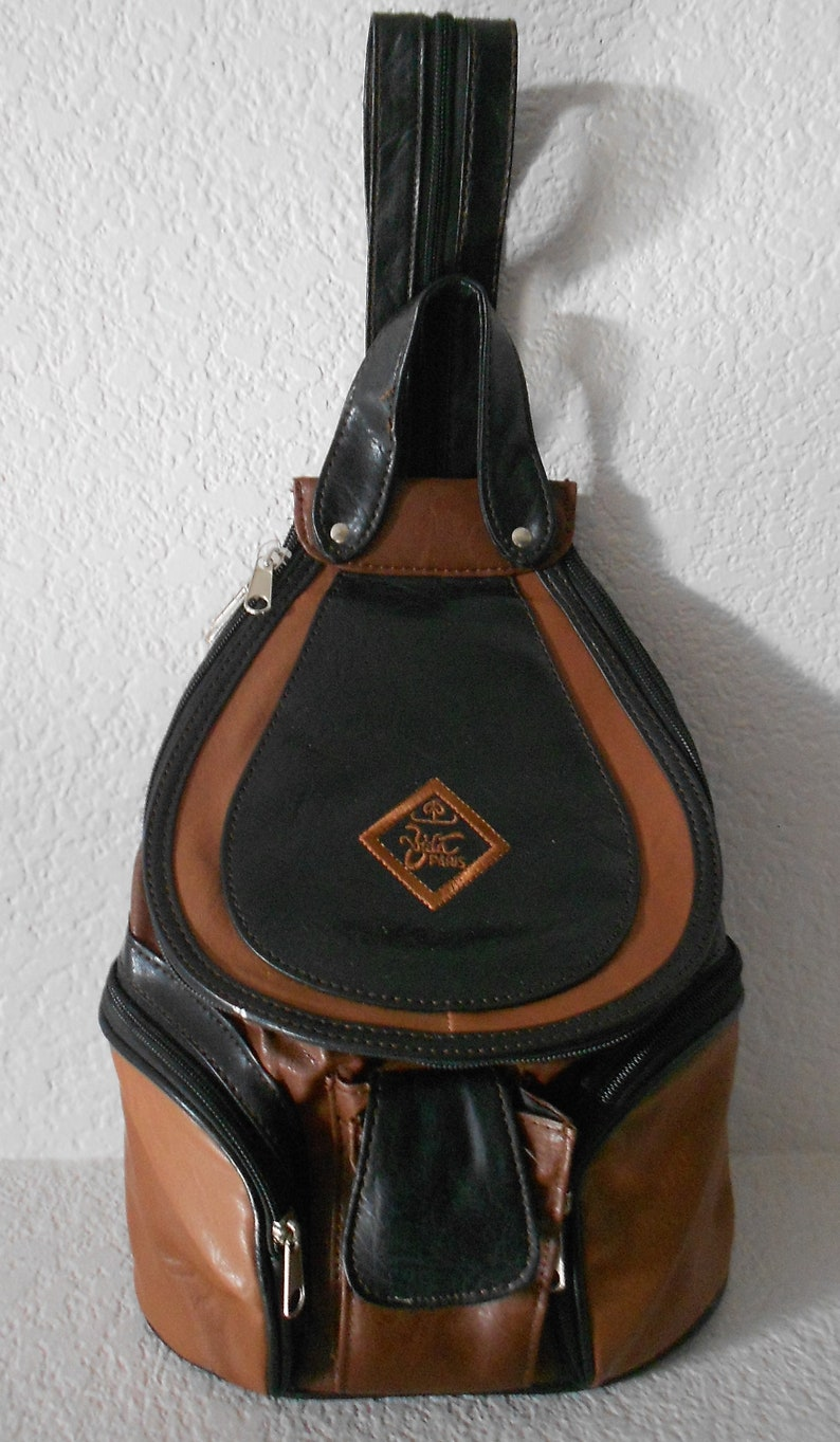 5b3270ad83 Vida Paris faux leather backpack sling bag black brown