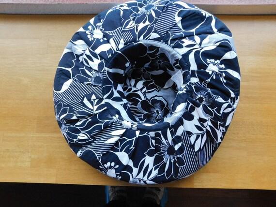 vintage wide brim sunhat/black white floral ribbo… - image 8