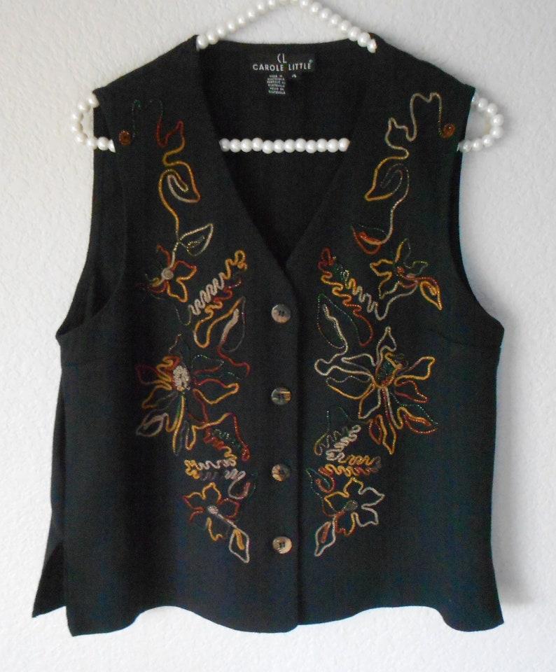 fd14b467edc6aa Carole Little women s black vest floral pattern