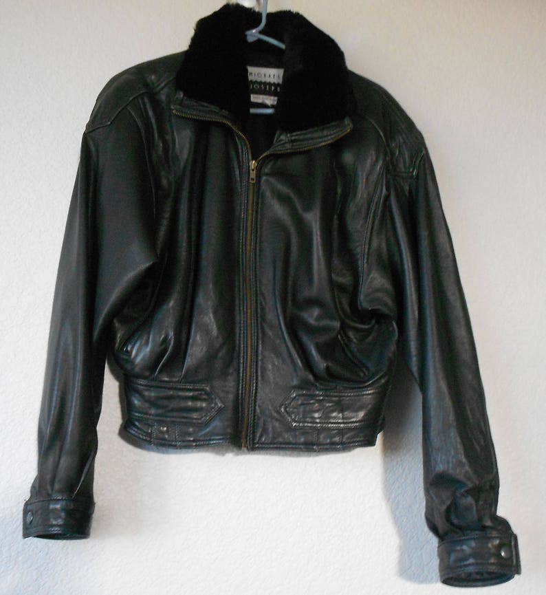 fa110e3a22859b Michael Joseph women s black leather jacket with faux fur