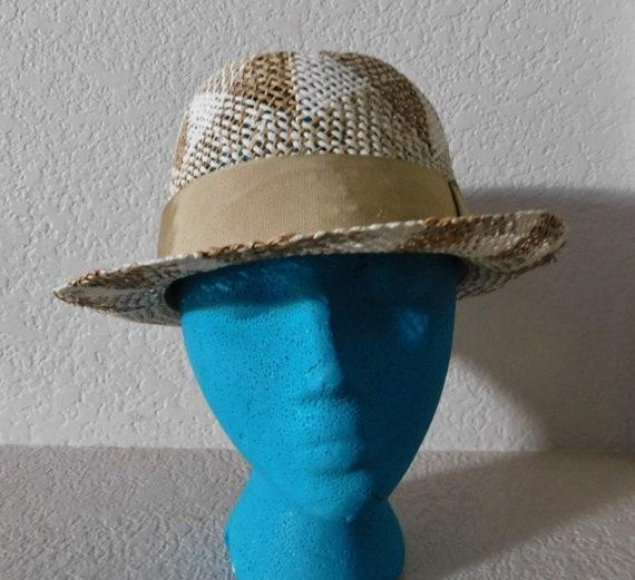 Bailey men's natural fiber fedora hat/beige white