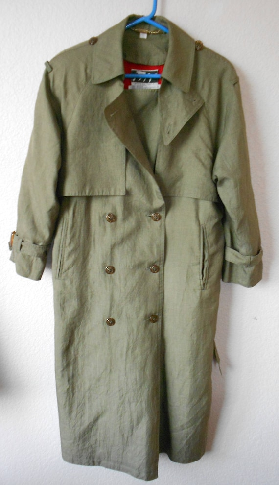 Morgan Taylor size 4P women's olive lined trench c