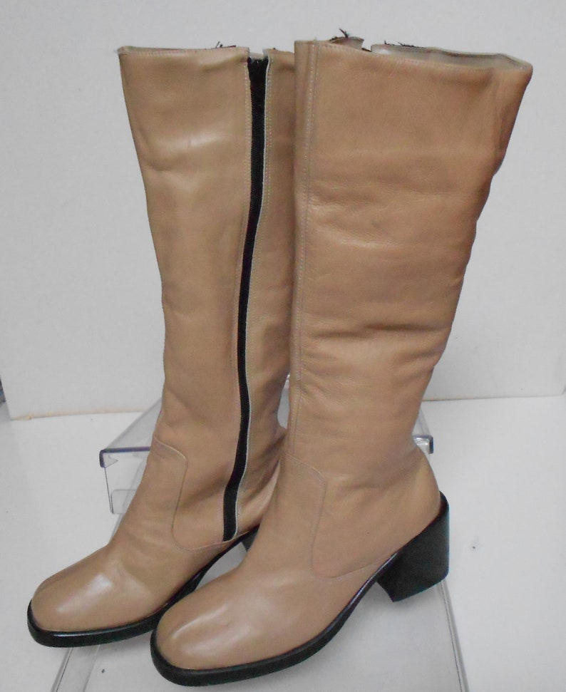 b19fe912f08 Bogart women's tan leather high boots block heel insulated thick sole side  zipper New without tag size 8.5 euro size 250