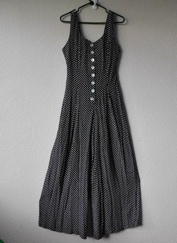 Vintage Pastille women's black sleeveless polka do