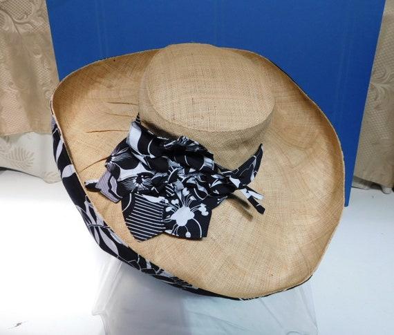 vintage wide brim sunhat/black white floral ribbo… - image 4