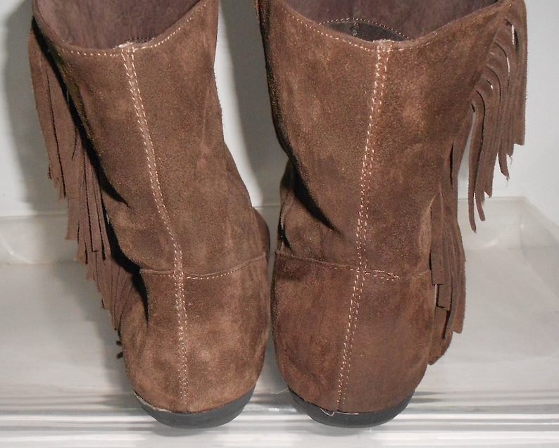 ad28b5ea5525c Steve Madden women's suede ankle boots/western boots/flat heel/brown  fringe/round toe/size 11