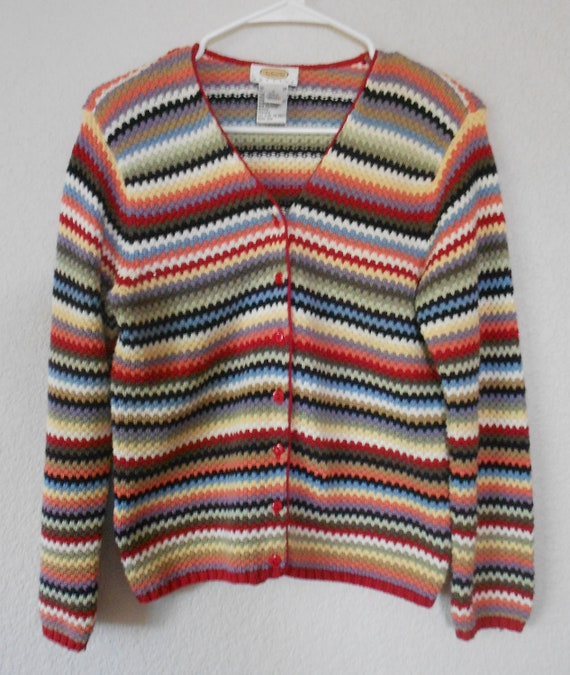 Talbots petites women's cotton sweater striped cotton knit long sleeve button down red green white gray size S