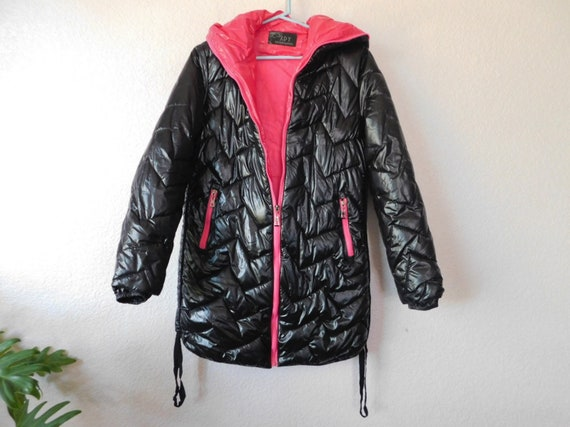 Quilted black hoodie coat/black quilted chevron pa