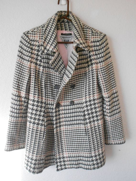sale cheapest new release MARVIN RICHARDS women's wool coat/houndtooth/black pink white/pink  lining/wool coat/fitted/ Checker coat/Double heart checker coat/size 8P