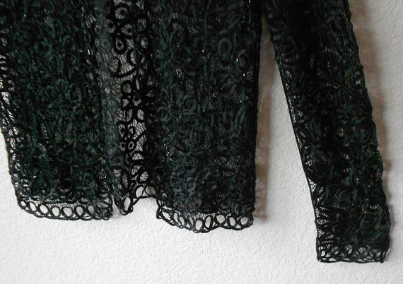 d75a6c41bdff82 Carole Little black Silk Lace Top with hand-sewed beads Black