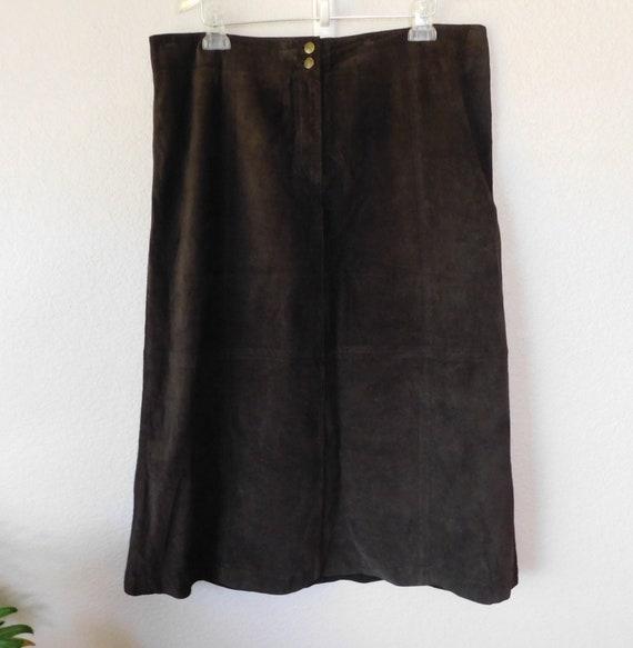 Lauren Ralph Lauren dark brown suede long skirt/so