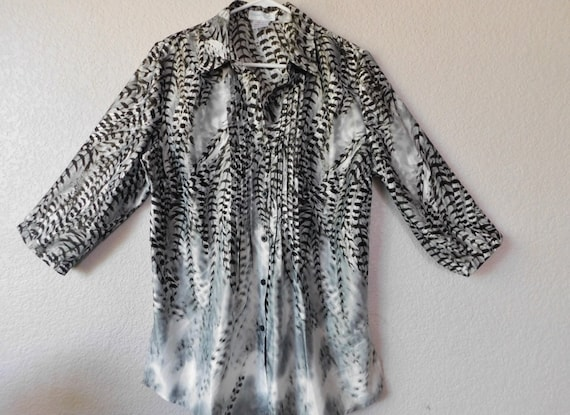 Creation L maternity blouse/feather pattern gray b