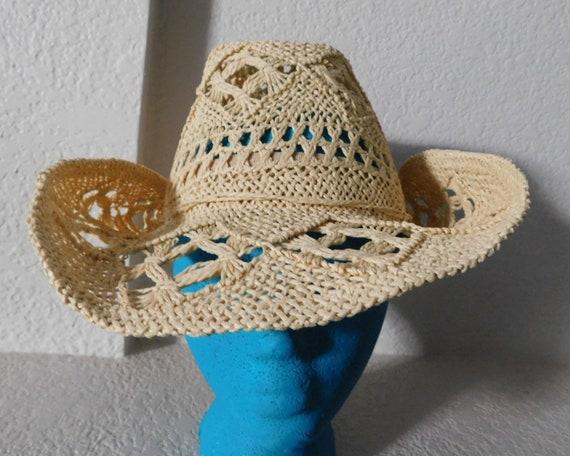 Natural fiber J Hats beige sunhat/ribbon crocheted
