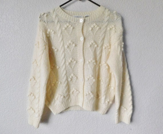 Hand knitted Liz Claiborne collection mohair cardi