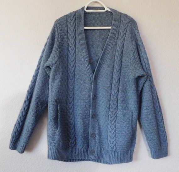 8ae4e0984f7 Vintage men's hand knit sweater/cable knit cardigan/light blue/size XL