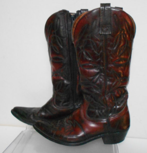 Vintage men's oxblood leather western cowboy boots