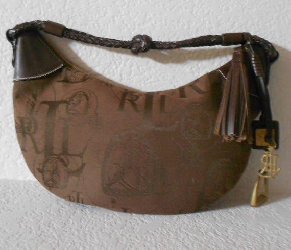 e56ed08a77e4 Lauren Ralph Lauren brown canvas equestrian shoulder bag