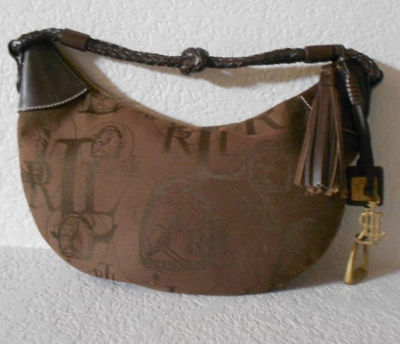 3a67c8de9 Lauren Ralph Lauren brown canvas equestrian shoulder bag