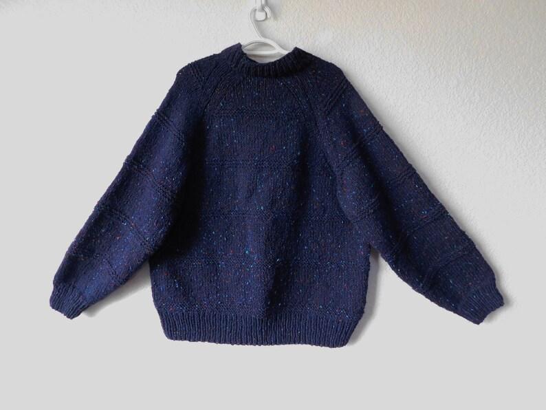 mock strick Pullover blau Stricken schwere Pullover Xl Wolle