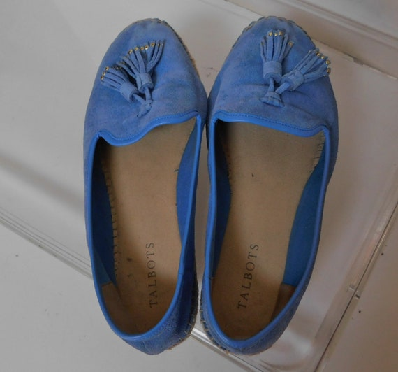 Talbot women's blue suede espadrille flat shoes/ b