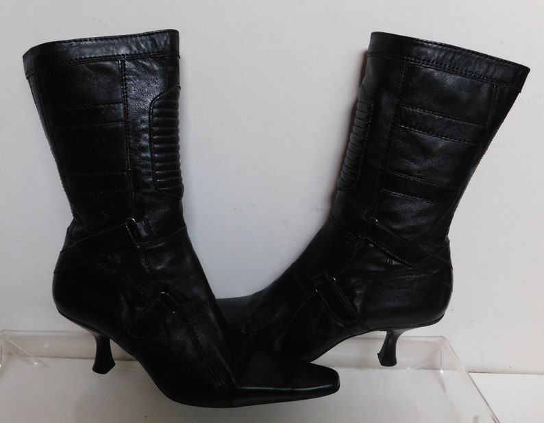 2a575fd75928a Steven Madden women's black leather ankle boots/stiletto/zipper/ pointed  toe/size 8