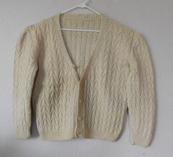 Hand knit men's long sleeve wool sweater/ chevron