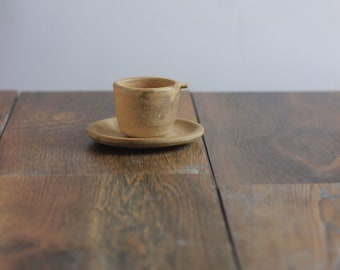 Handmade espresso cup and saucer, sandstone glaze, handmade gift, morning coffee in style.