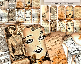 Vintage Printables Digital Antique Tags Instant Download Paper Crafting Sheet Music Women Collage Sheet Nostalgia Crafts Journals Price Tag