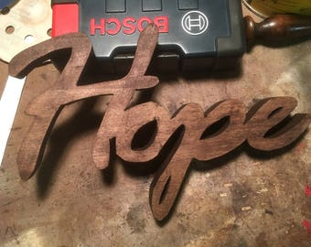 Hope Wood Sign Wall Hanging Decal