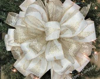 christmas tree topper christmas tree bows christmas decorations ivory and gold christmas bow elegant christmas tree bows christmas decor - Gold Christmas Decorations