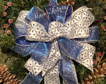 blue christmas decorations blue and white christmas bows blue and white christmas decor blue white and silver christmas bows - Etsy Christmas Decorations