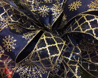 navy blue and gold christmas tree topper 6 ft streamers snowflake bow christmas tree bows christmas decoration christmas bow with snowflakes - Navy And Gold Christmas Decorations