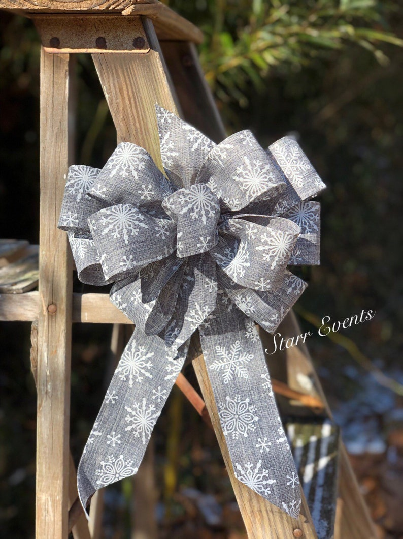 Rustic Wedding Decor Winter Wedding Bows Rustic Wedding Decorations Gray Wedding Bows Winter Wreath Bows Bows For Weddings Snowflake Bow