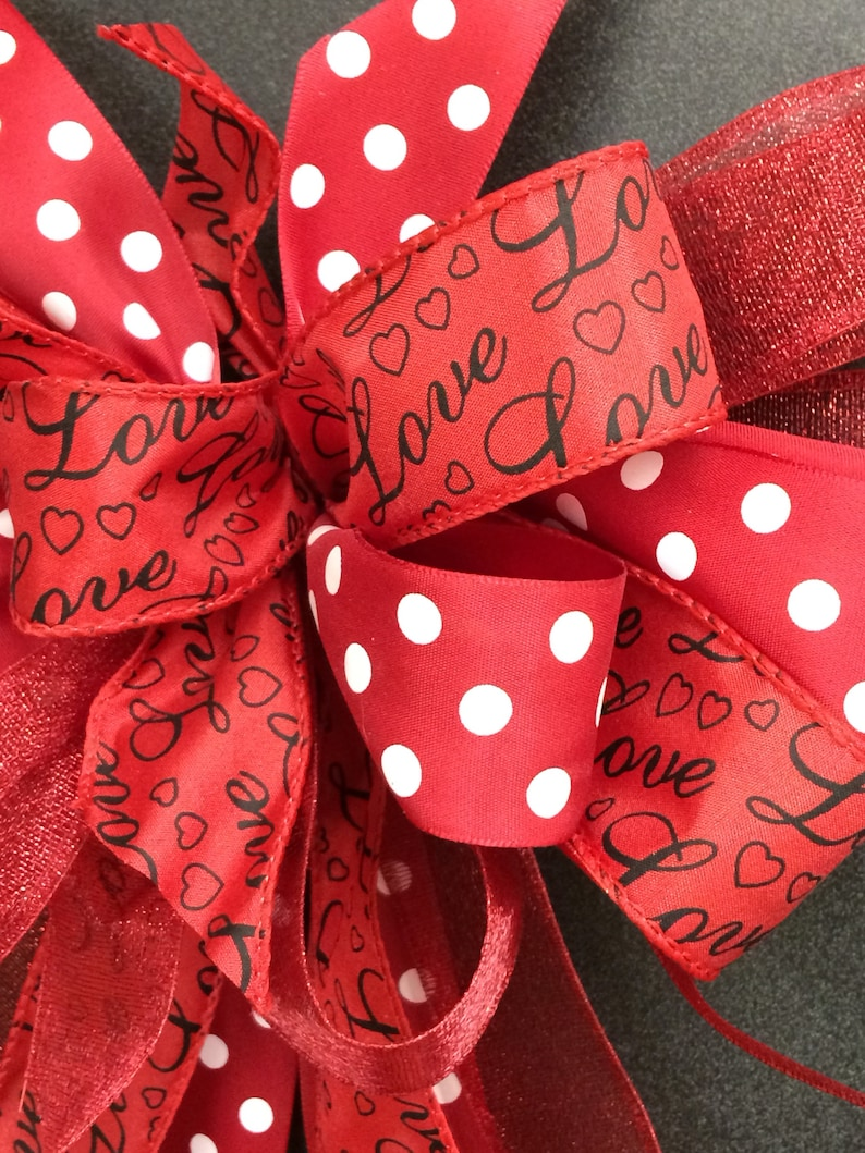 Valentines day decorations Valentines day bow wreath bow Red and black bow Bows with polka dots Red Valentines day bow Valentines day decor
