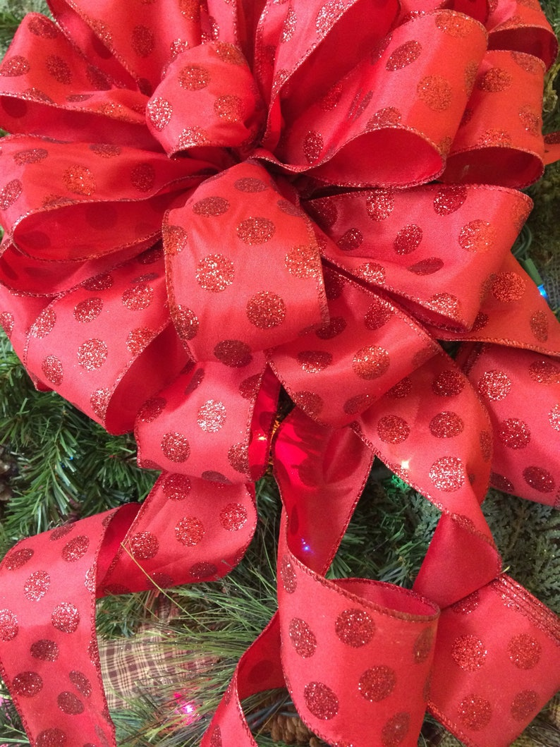 Christmas Tree Bows Red.Red Christmas Tree Toppers Christmas Tree Bows 6 Foot Streamers Polka Dot Bow Red Christmas Ribbon Christmas Decorations Christmas Decor