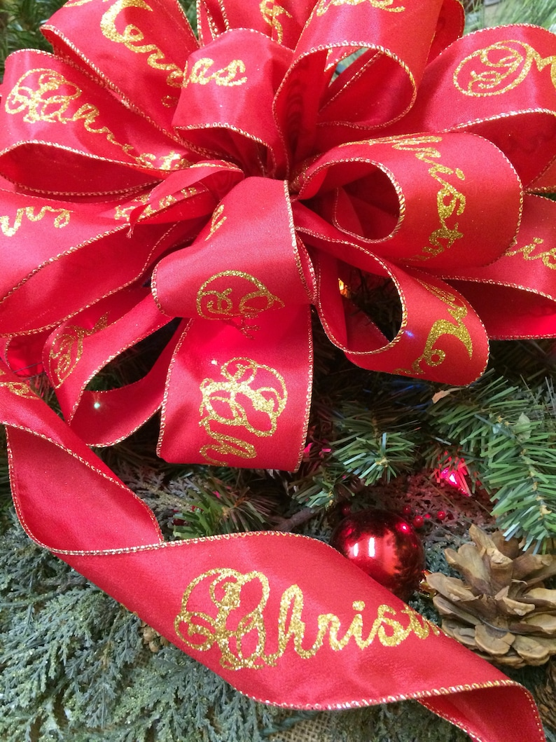 Merry Christmas tree topper Red and gold bows Merry Christmas bows with streamers Red and gold Christmas ribbon Christmas tree bows.