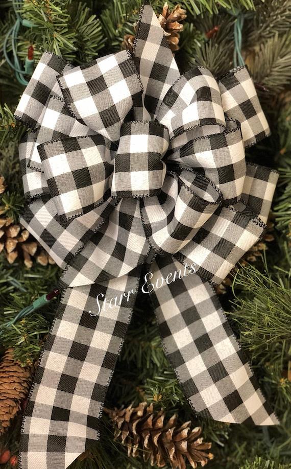 Christmas Tree Bows White.Buffalo Plaid Bow Rustic Christmas Decor Black And White Plaid Bow Rustic Christmas Bow Rustic Christmas Ribbon Primitive Christmas Bow