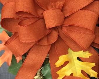 Fall Wreath bow. Burnt Orange ribbon. Bows for wreaths. Rustic Fall bows. Fall decor. Dark Orange bows. Rustic Fall decorations. Rustic bow